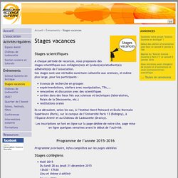 Stages vacances - Association Science Ouverte