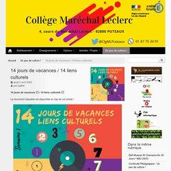 14 jours de vacances / 14 liens culturels - Collège Maréchal Leclerc