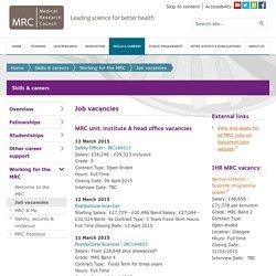 Job vacancies - Skills & careers - Medical Research Council