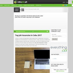 Top Job Vacancies in Cebu 2017