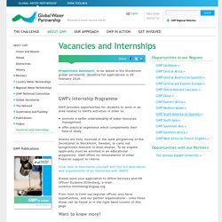 Vacancies and Internships - ABOUT GWP