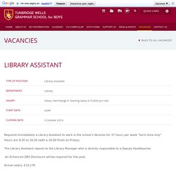 Vacancies - Tunbridge Wells Grammar School