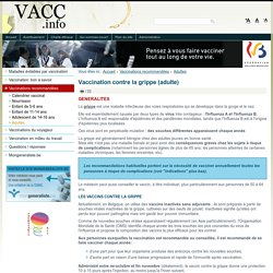 Vaccination contre la grippe (adulte)