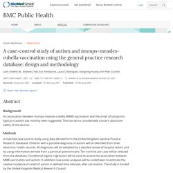 A case-control study of autism and mumps-measles-rubella vaccination using the general practice research database: design and methodology