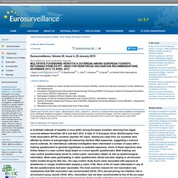 EUROSURVEILLANCE 29/01/15 Multistate foodborne hepatitis A outbreak among European tourists returning from Egypt– need for reinforced vaccination recommendations, November 2012 to April 2013.