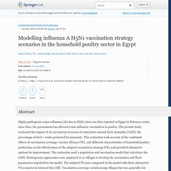 Trop Anim Health Prod (2014) 46:57–63 Modelling influenza A H5N1 vaccination strategy scenarios in the household poultry sector in Egypt