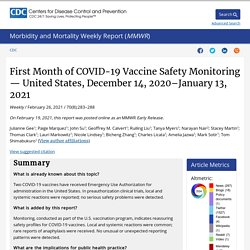 MMWR 19.02.21 First Month of COVID-19 Vaccine Safety Monitoring — United States, December 14, 2020–January 13, 2021