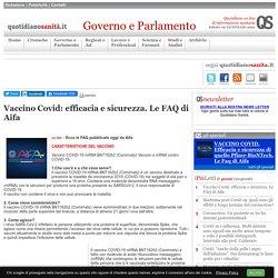Vaccino Covid: efficacia e sicurezza. Le FAQ di Aifa
