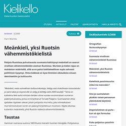 Meänkieli, yksi Ruotsin vähemmistökielistä - Kielikello