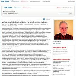 Vahvuusodotukset ratkaisevat koulumenestyksen — Juhani Räsänen