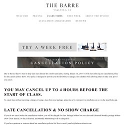THE BARRE VALENCIA - CLASS TIMES