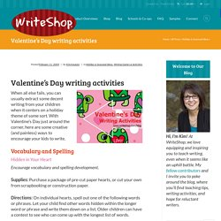 Valentine's Day writing activities - WriteShop