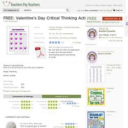 FREE: Valentine's Day Critical Thinking Activity by Rachel Lynette