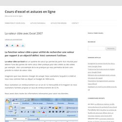 La valeur cible sur Excel - COURS-EXCEL.FR