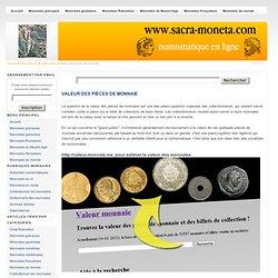 Valeur des pièces de monnaie