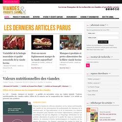 VIANDE ET PRODUITS CARNES 13/09/16 Valeurs nutritionnelles des viandes