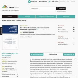 Les valeurs de base de la personne: théorie, mesures et applications