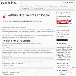 Valeurs et références en Python
