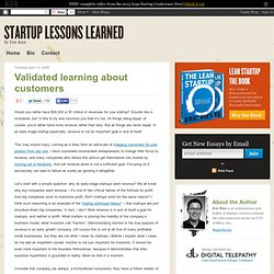 Validated learning about customers