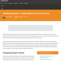 Validating Input in Sass Mixins and Functions