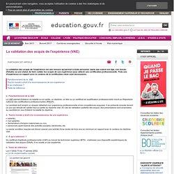 Ministère de l'Éducation nationale > VAE