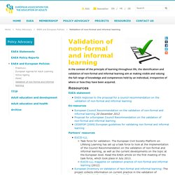 Validation of non-formal and informal learning - European Association for the Education of Adults
