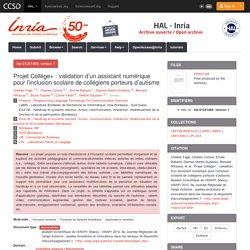 Projet Collège+ : validation d'un assistant numérique pour l'inclusion scolaire de collégiens porteurs d'autisme