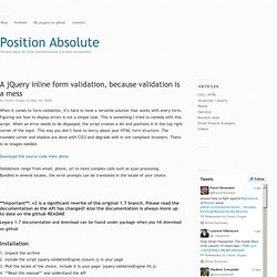 A jQuery inline form validation, because validation is a mess « Position Absolute, ressources for the web developer