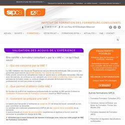 Validation des Acquis de l'Expérience pour devenir formateur - SIPCA