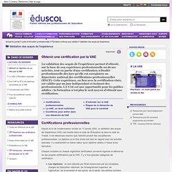 EduSCOL > VAE