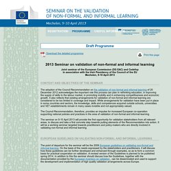 Seminar on the validation of non-formal and informal learning