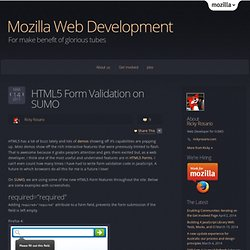 HTML5 Form Validation on SUMO « Mozilla Webdev