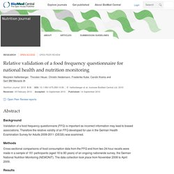 Nutrition Journal 2010, 9:36 Relative validation of a food frequency questionnaire for national health and nutrition monitoring