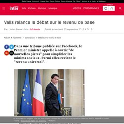 Valls relance le débat sur le revenu de base