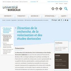 Direction de la recherche, de la valorisation et des études doctorales