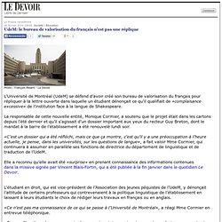 UdeM: le bureau de valorisation du français n'est pas une réplique