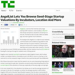 AngelList Lets You Browse Seed-Stage Startup Valuations By Incubators, Location And More