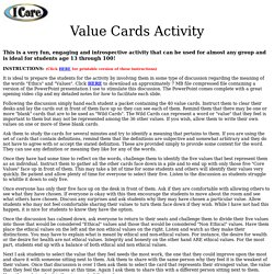 Value Cards Activity