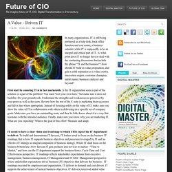 A Value - Driven IT ~ Future of CIO