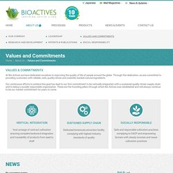 Values and Commitments - Bioactives