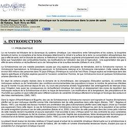 Université ouverte campus de Bukavu - 2008 - Mémoire en ligne : Etude d'impact de la variabilité climatique sur la schistosomias