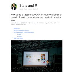 How to do a t-test or ANOVA for many variables at once in R and communicate the results in a better way - Stats and R