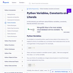 Python Variables, Constants and Literals