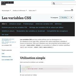 Les variables CSS - CSS : Feuilles de style en cascade