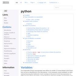 Types et variables du langage python — Programmation avec le langage Python