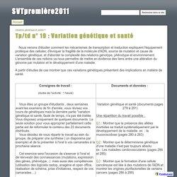 Tp/td n° 19 : Variation génétique et santé - SVTpremière2011