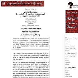 Les Variations Goldberg de Johann Sebastian Bach