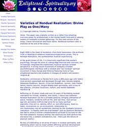 Varieties of Nondual Realization
