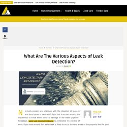 What Are The Various Aspects of Leak Detection?