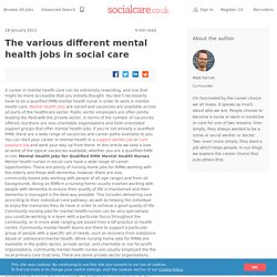 The various different mental health jobs in social care